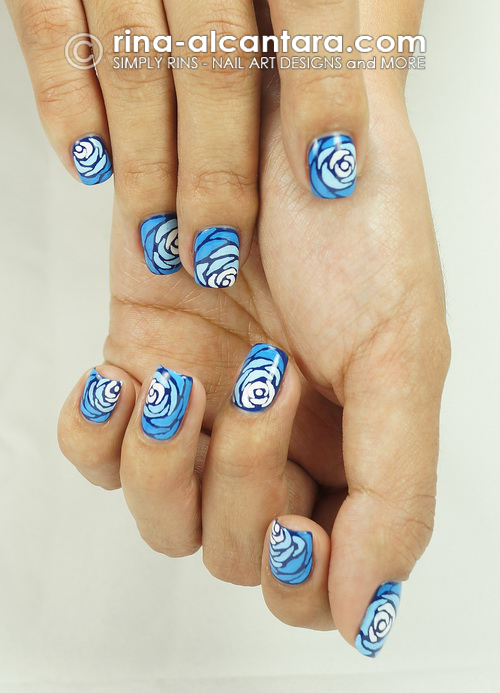 Blue Wave Nail Art Design - Parting Shot