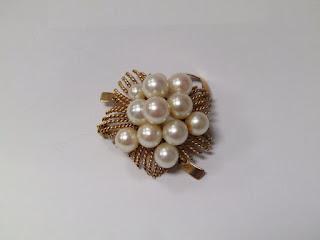 14 K Gold & Pearl Brooch