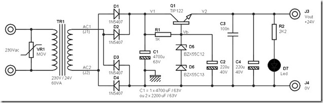 24 volt dc power supply circuit diagram schematic | Simple Schematic ...