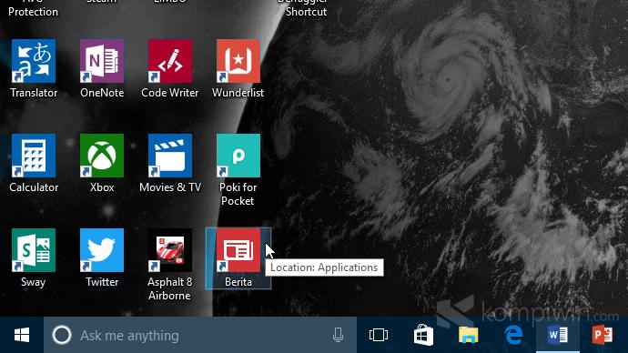 Pin aplikasi windows store ke desktop