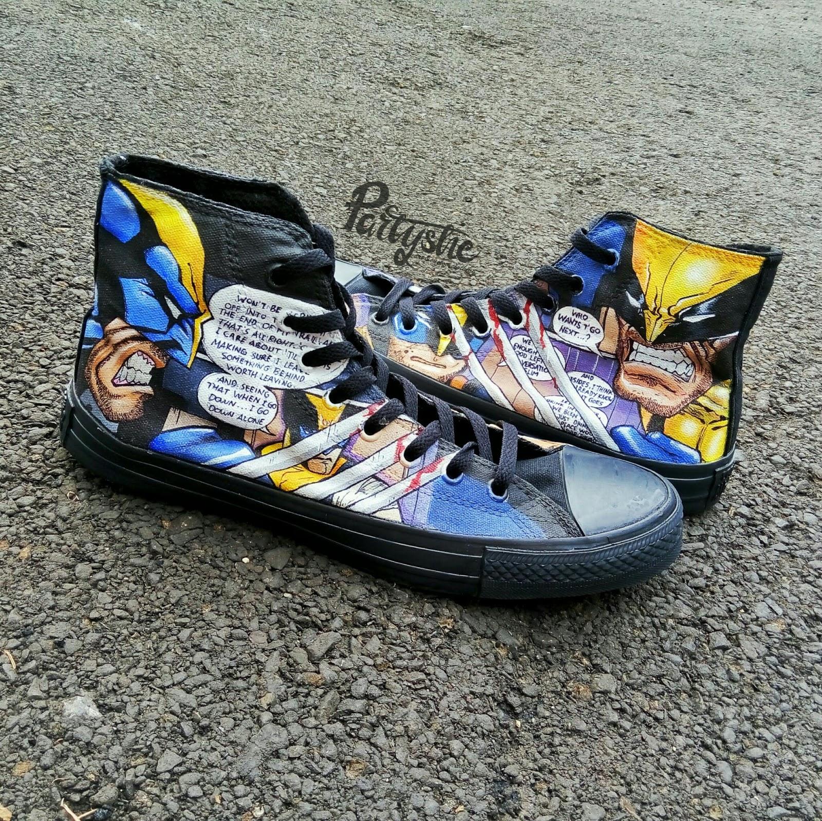 Sepatu lukis converse mono black wolverine