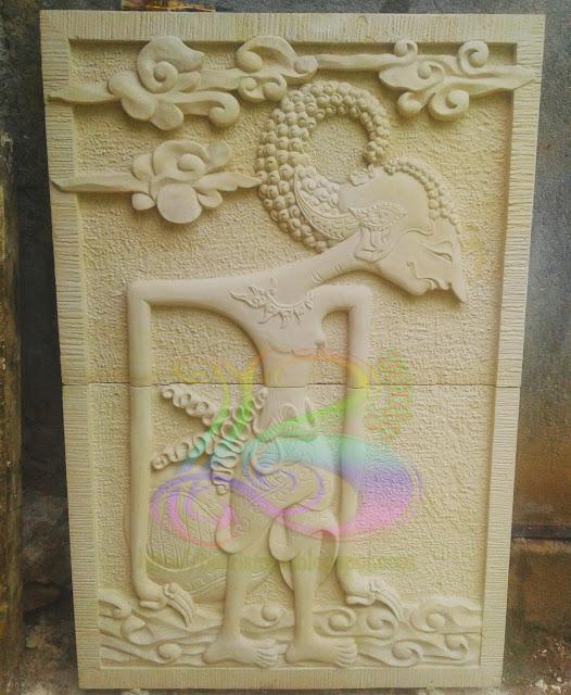 Relief wayang arjuna kerajinan batu alam