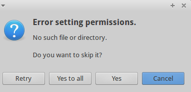 Error Setting Permissions, No such File or Directory on CIFS
