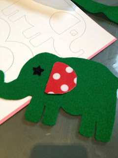 Felt elephant shapes, button eye and pieces all ready for sticking
