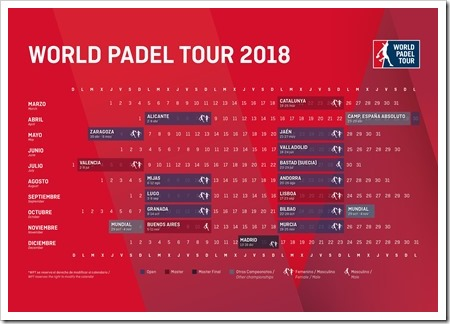 Oficial: Calendario World Padel Tour 2018.