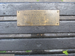 June 2013. This used to be a great place to meet your mates. Paul Woosey's bench. Part of recent history. The stuff 'Reinvigorate York' is erasing.
