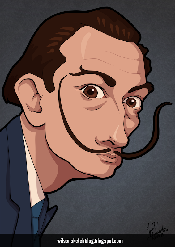 Cartoon caricature of Salvador Dalí.