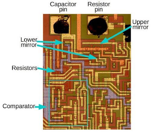 Zooming in on the die of the 76477 sound chip shows the circuitry for the SLF oscillator.