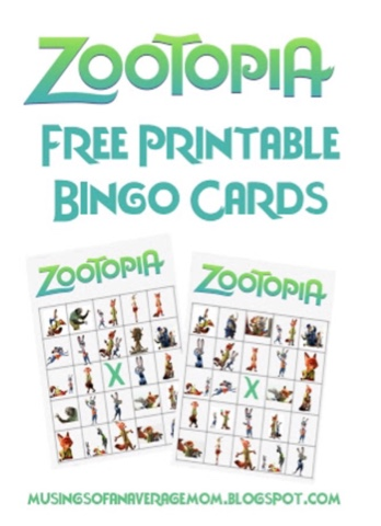 Zootopia bingo