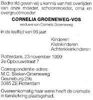 Groeneweg-Vos, Cornelia Overlijdensadvertentie 23-11-1999