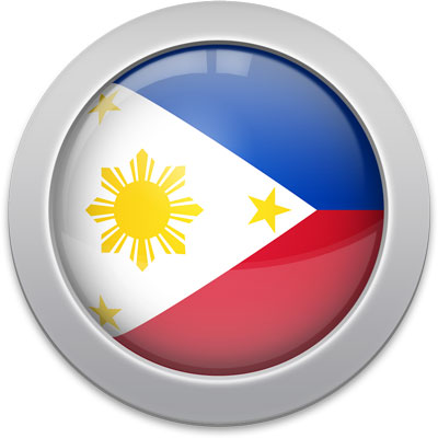Philippine flag icon with a silver frame