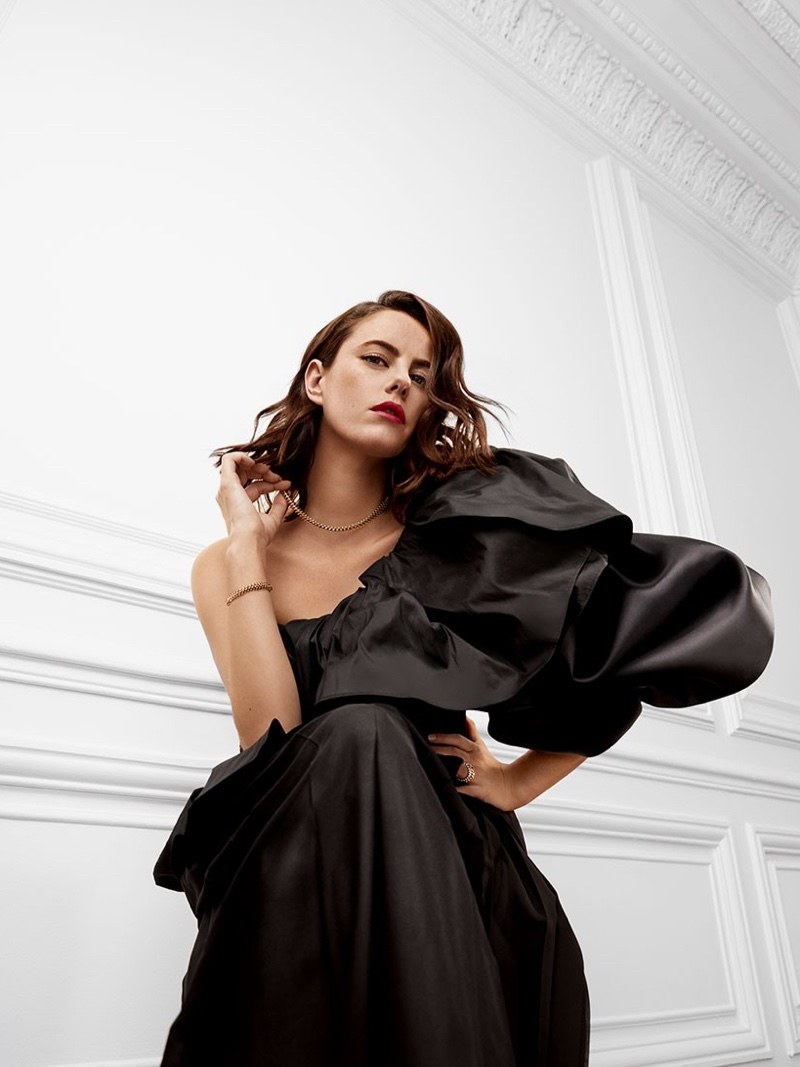 Wearing a puff sleeve dress, Kaya Scodelario fronts Clash de Cartier 2020 jewelry campaign.