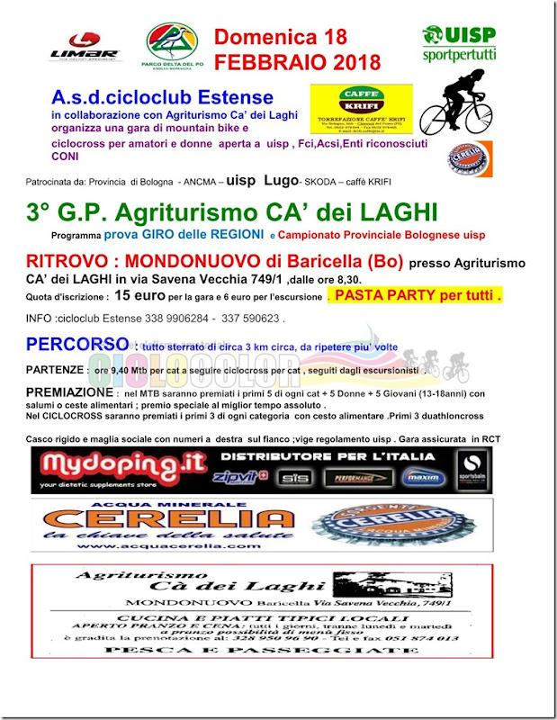 MTB Agriturismo CA' dei Laghi a MONDONUOVO di Baricella (Bo) Domenica 18 Febbraio 2018
