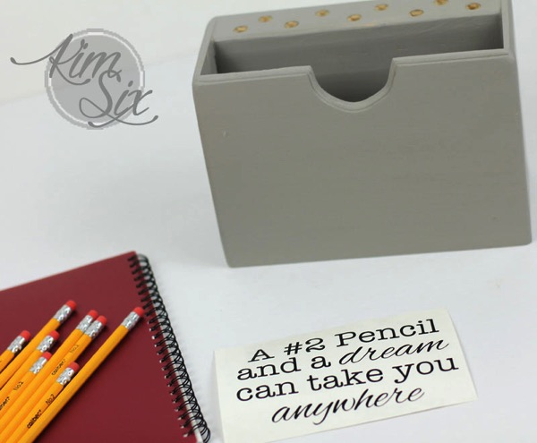 Personalizing Desk organizer with Silhouette Cut Vinyl
