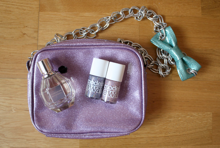 anna lou london glitter bag flowerbomb barry m