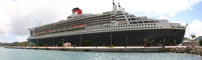 Queen Mary 2 docked in Saint Thomas panorama