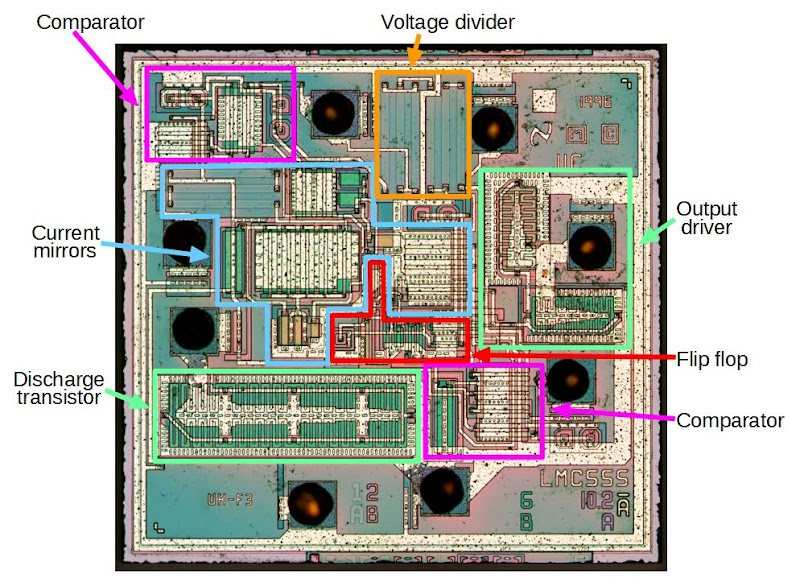 Functional blocks in the LMC555 chip.