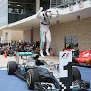 Lewis Hamilton's high jump on his Mercedes W06