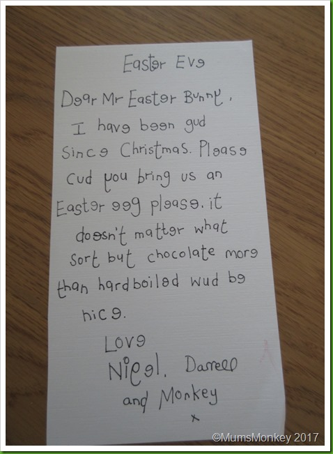 Letter to Easter Bunny