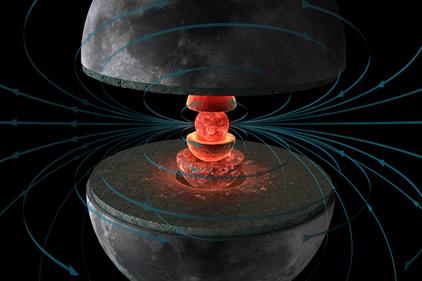 Lua primitiva gerando um campo magnético no seu núcleo metálico líquido