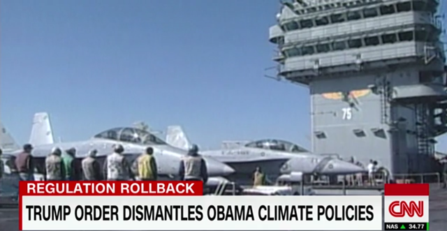 Screenshot of CNN broadcast on 28 March 2017, showing a chyron that reads, 'Trump order dismantles Obama climate policies'. Graphic: CNN