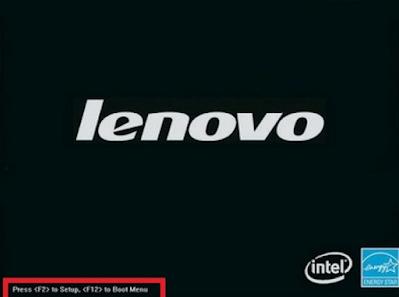 Màn hình khởi động của LENOVO có phím truy cập Menu BOOT và BIOS