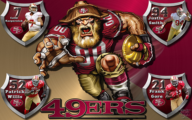 49ers Crazy Logo Shield Players Wallpaper