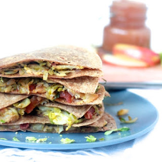 Brussels Sprout, Bacon, and Gruyere Quesadillas with Apple Butter