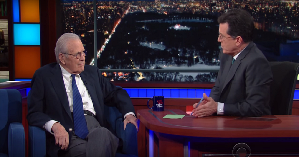 Rumsfeld explains to host Stephen Colbert the meaning of operational intelligence
