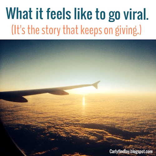 Photo: plane wing in the clouds. Text: what it feels like to go viral (it's the story that keeps on giving)