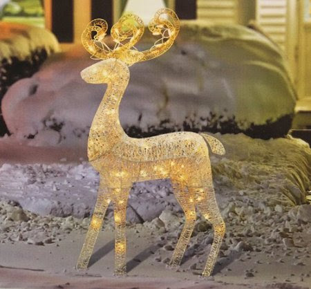 48-Inch Elegant Glittered White Reindeer Lighted Christmas Yard Art Decoration