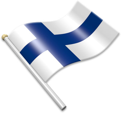 The Finnish flag on a flagpole clipart image