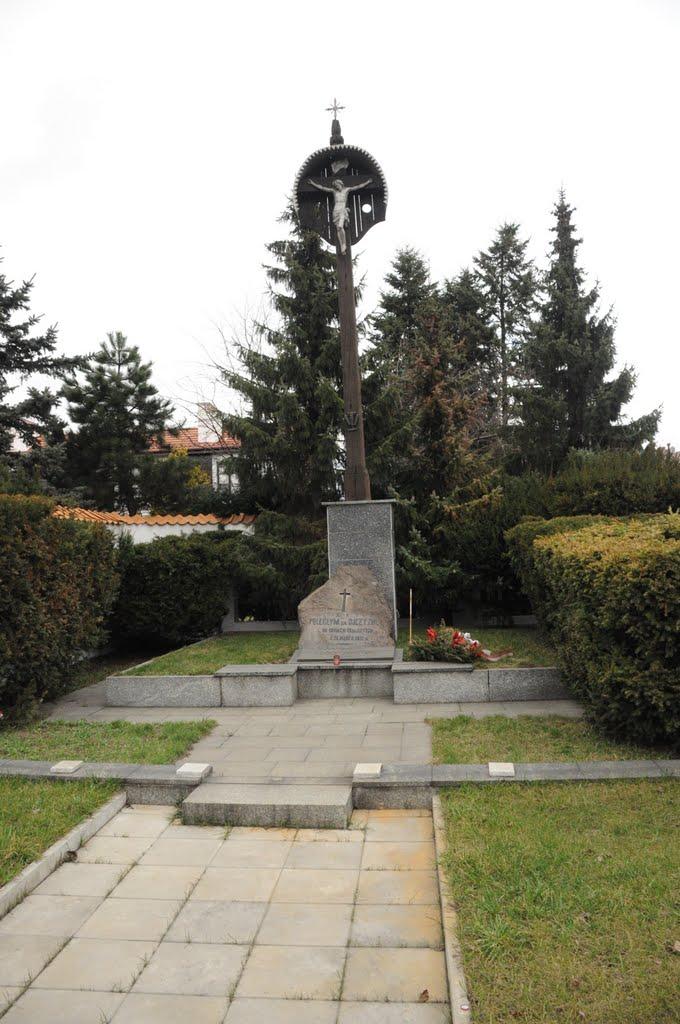 Pomnik przy Szosie Brzeskiej. Obok znajduje się Zajazd Napoleoński