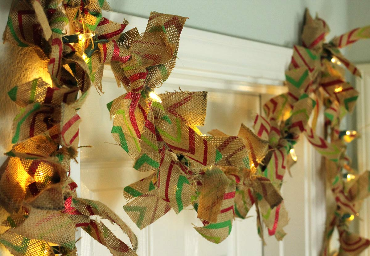 Green and Red Burlap Christmas Garland