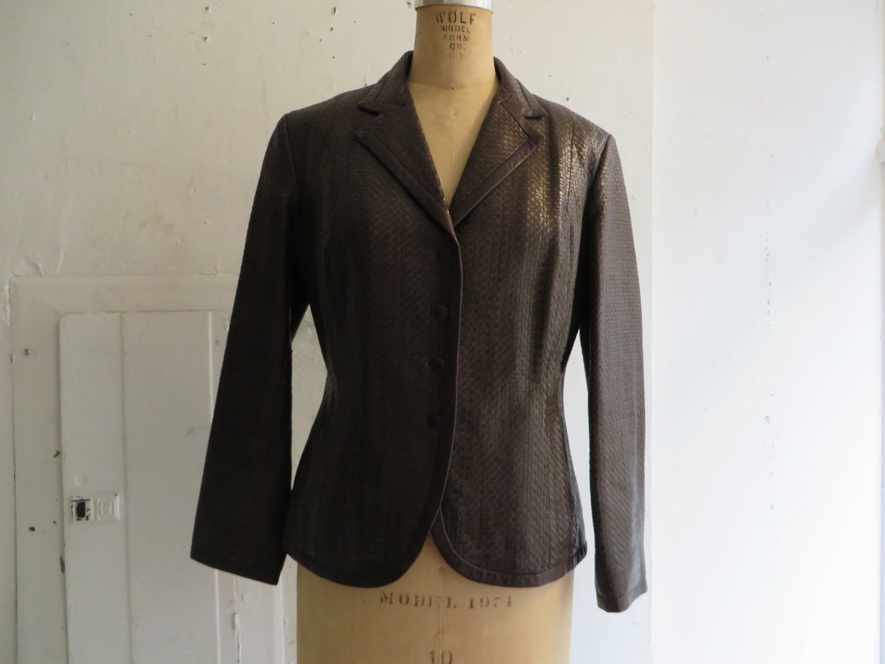 Max Mara Woven Leather Jacket