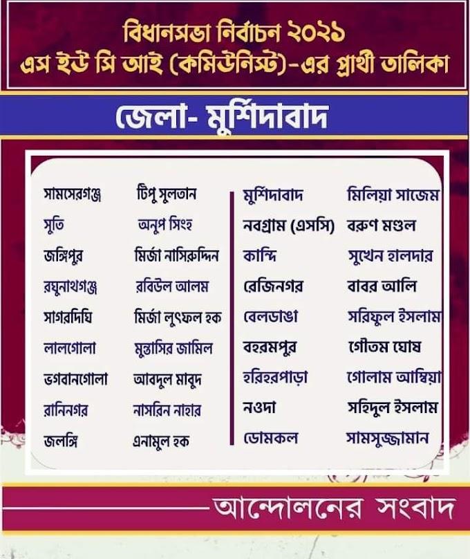 SUCI(C)এর 2021 বিধানসভা নির্বাচনে মুর্শিদাবাদ জেলায় 18 কেন্দ্রের প্রার্থী তালিকা