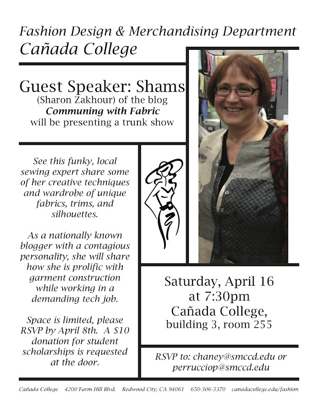 Communing With Fabric: Speaker at Cañada College and More!