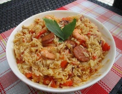 Jumbalaya au poulet, crevettes et chorizo