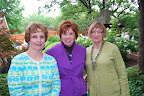 Jean Neisius, Meg Davis, and Kathy Hoshi, all hostesses in the Marshall garden.