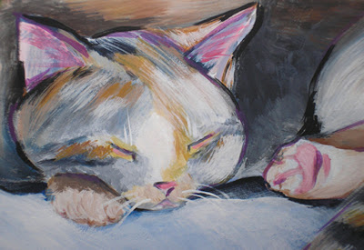 This is a portrait of Chloe's cat. She loved having it included in the painting.