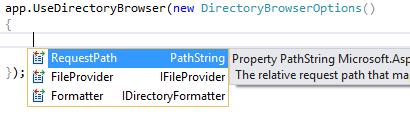 Opciones de configuración de DirectoryBrowserMiddleware
