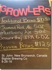 St. John, New Brunswick, Canada Bigtide Brewing Co 8-26-16