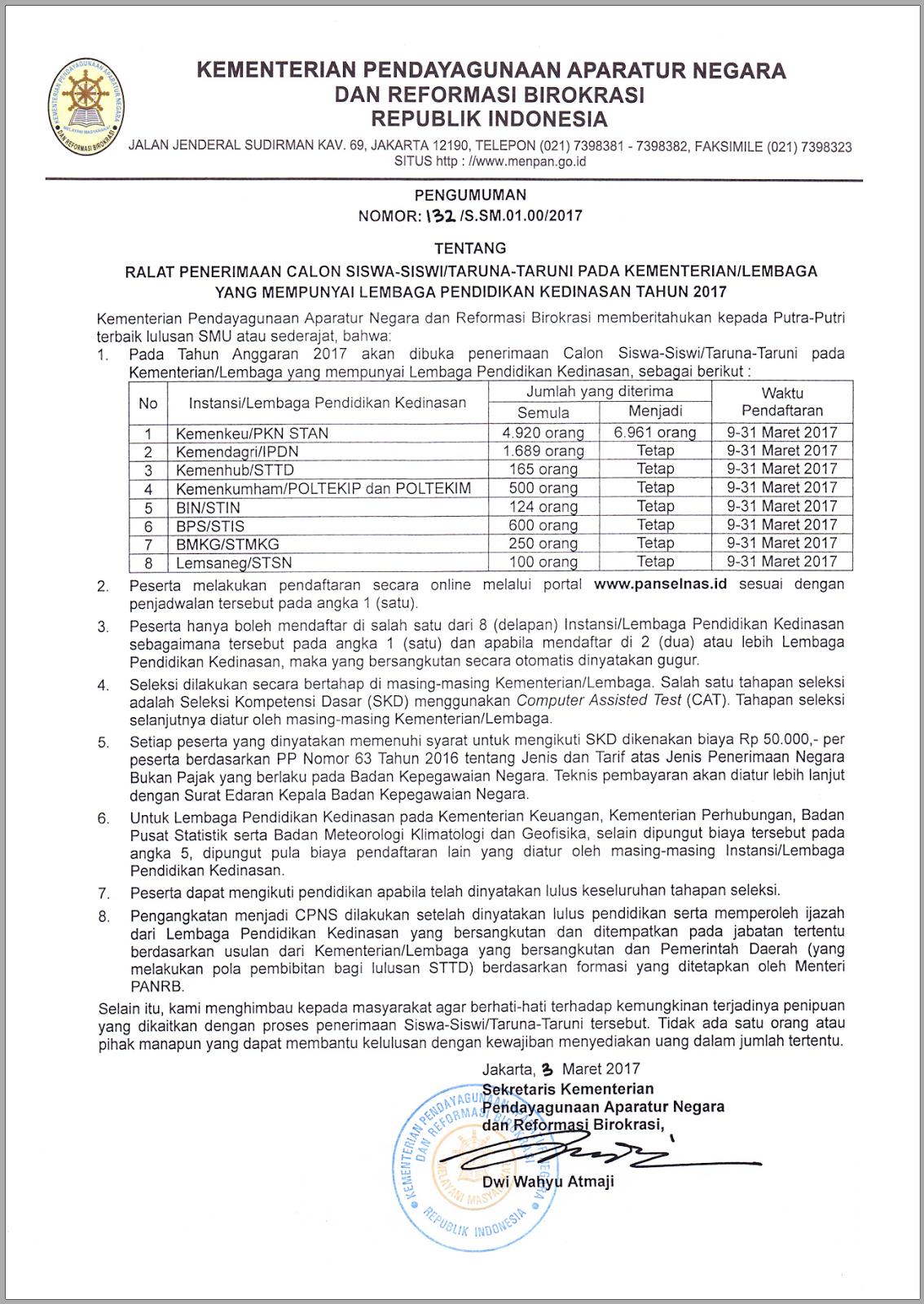 MynewRAN  Pendaftaran CPNS untuk Sekolah Tinggi Ikatan