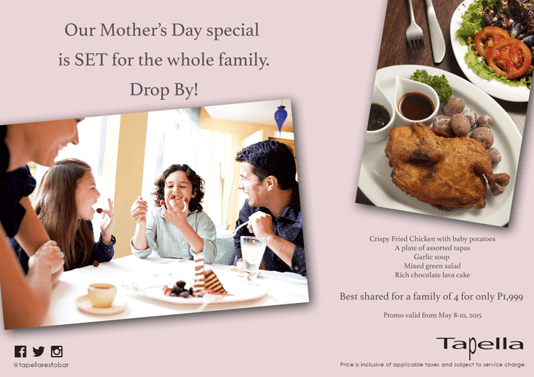 Celebrate Mother's Day with your Family at Tapella