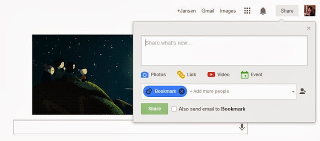 Directly share your thought to Google+ on Chrome Start Page