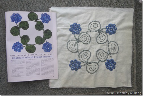Romany Quilting: Blue flowers, and a blue native bird