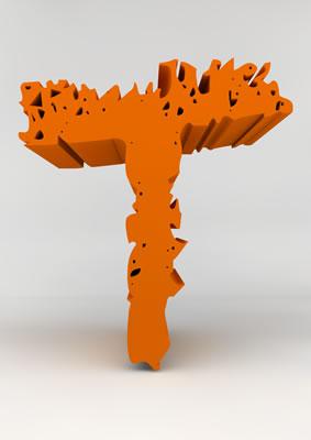 lettre 3D chiffron de craie orange - T - images libres de droit
