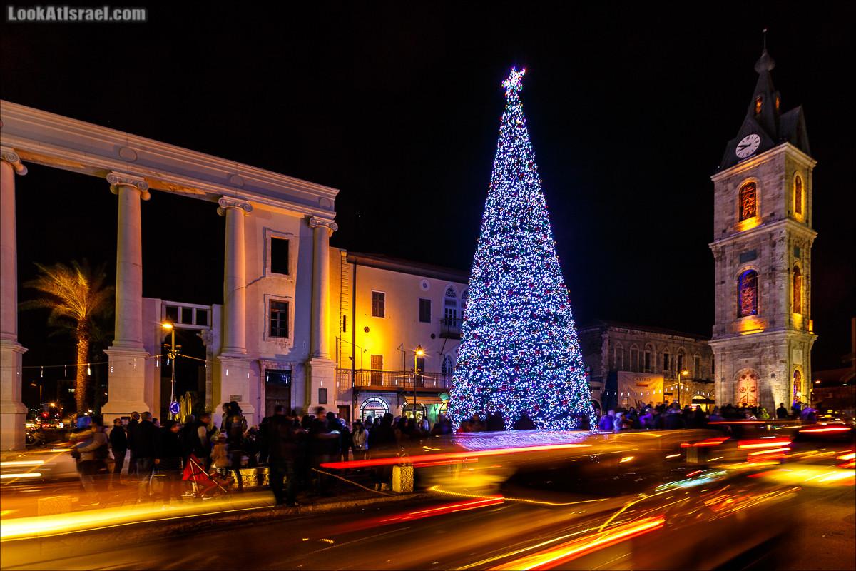 Рождественская ёлка в Яффо на площади часов | LookAtIsrael.com - Фото путешествия по Израилю