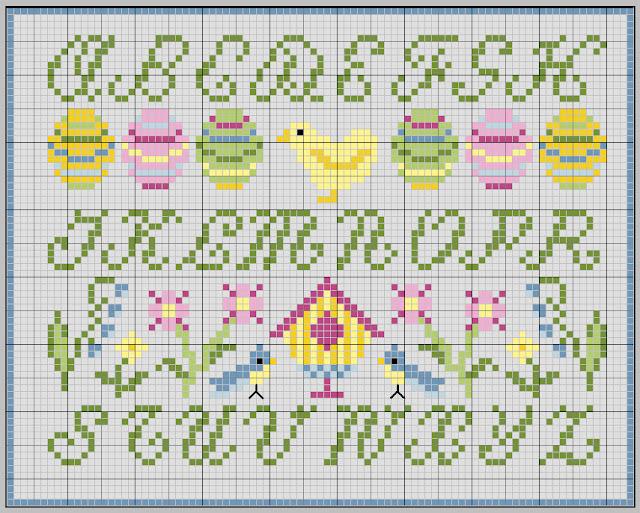 Gazette94 abecedaire printanier - Abecedaire point de croix grilles gratuites ...