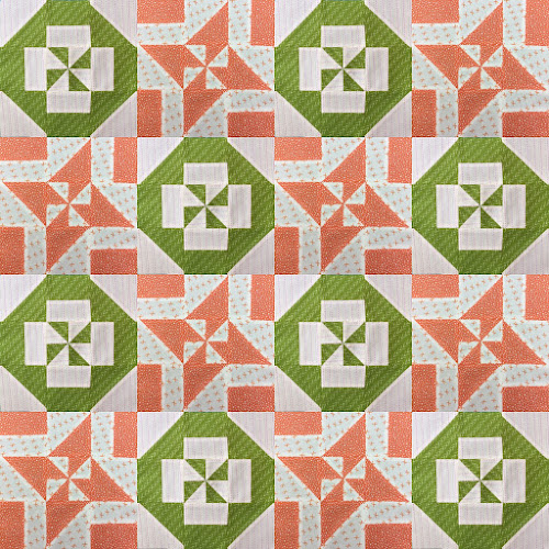 Block 10: Disappearing pinwheel quilt sampler